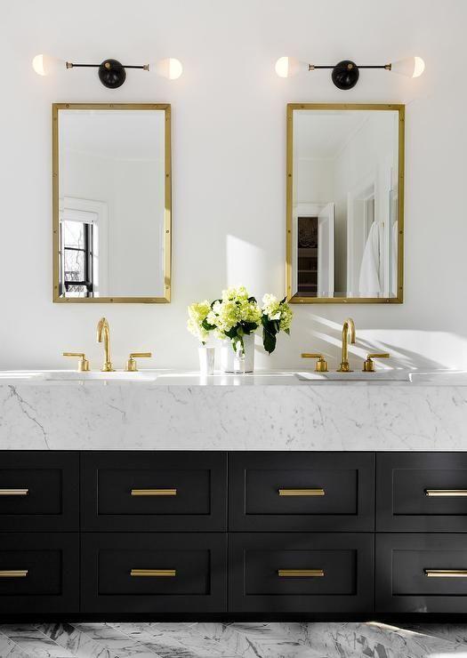 I love the black and gold.     Bathroom inspiration, gold bathroom.