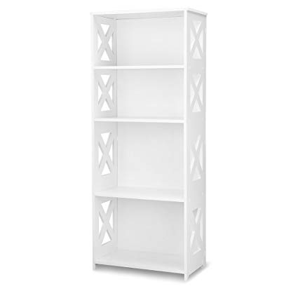 white bookcase Finether 4-tier modular shelf with cross cutouts made of wood-plastic composite QTKCJSM