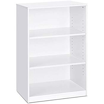 Bookcase white Furinno 14151r1wh Bookcase with 3 shelves, white VZFPDLD