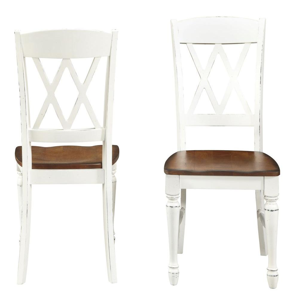 White Dining Chairs Home Styles White Grated White Double Back Dining Chair (Set of 2) XLSTKRCK