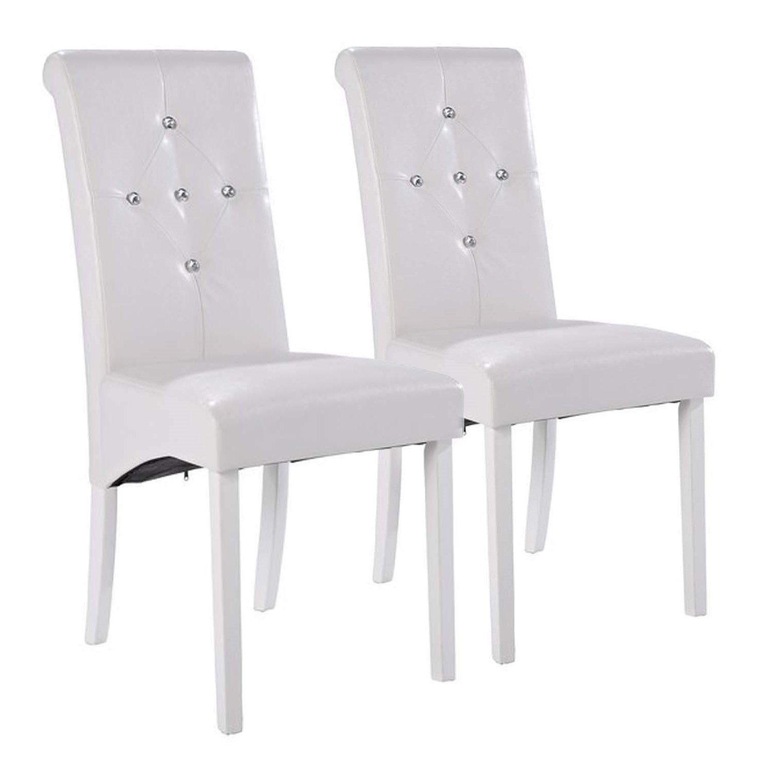 white dining room chairs lpd monroe pair of diamante dining room chairs in white XGKSPGL