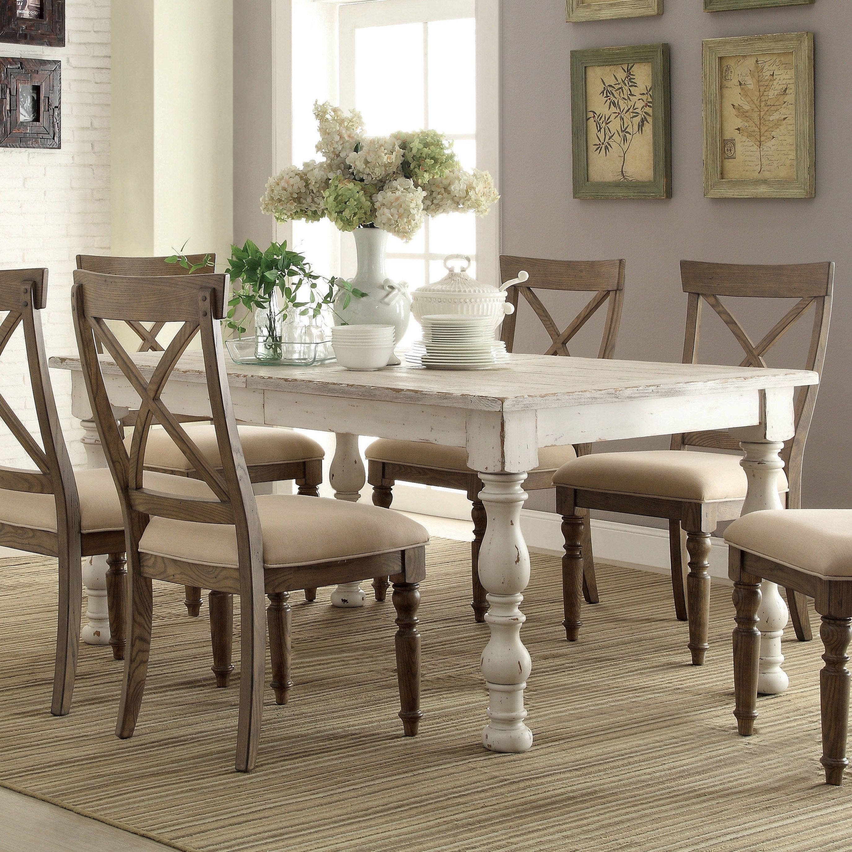 White Dining Table Aberdeen Wood Rectangular Dining Table and Chairs in Weathered, Worn White IJLNHTH