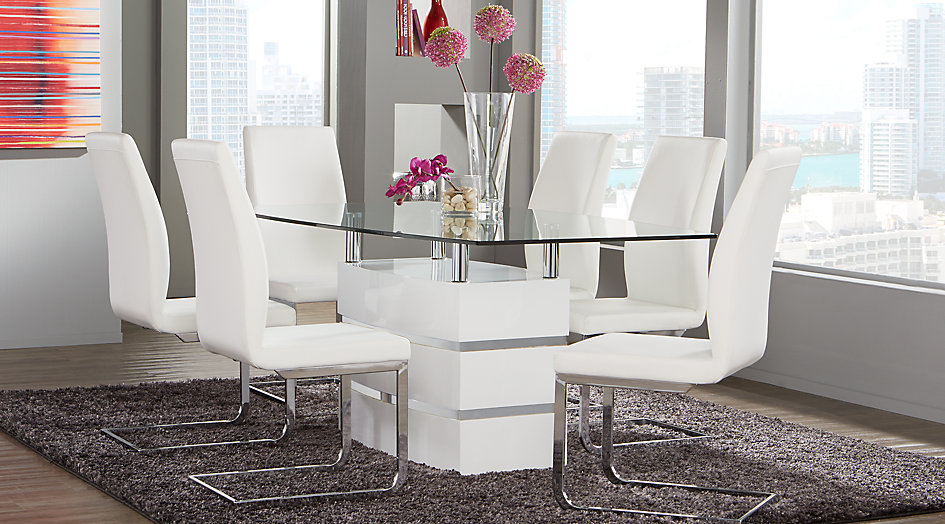 white dining table Tria white 5-part rectangular dining room - dining room sets colors KEQDBNC