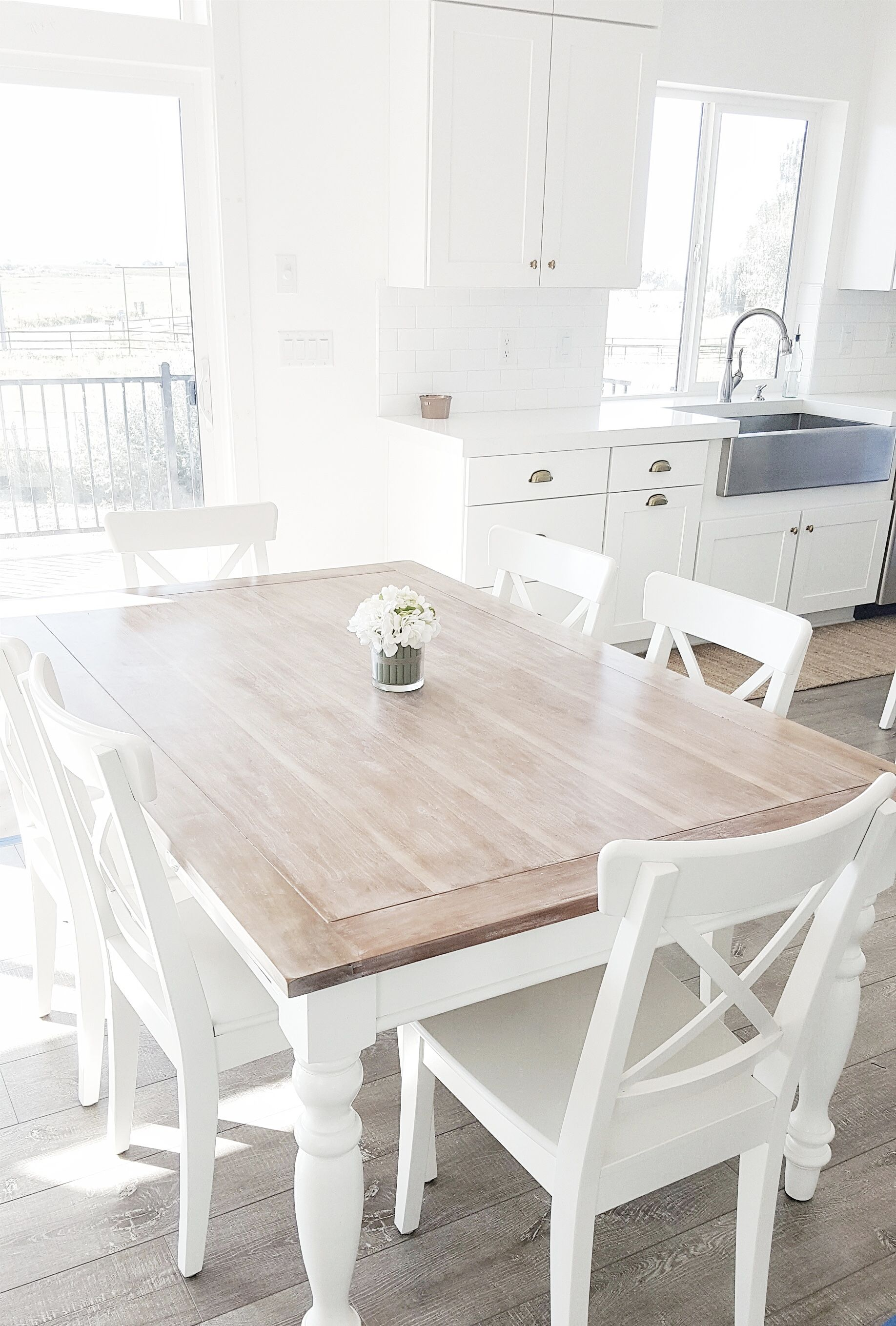 white dining table #whitelanedecor @whitelanedecor dining table, lime wax table top, stainless steel EUYFUZQ