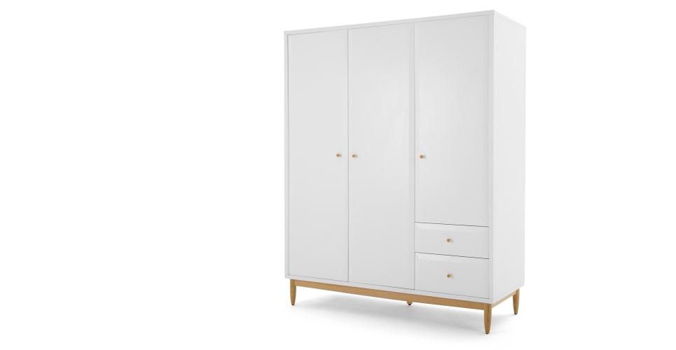 white wardrobe a triple wardrobe in white and oak.  designed by made studio XXBMCHK