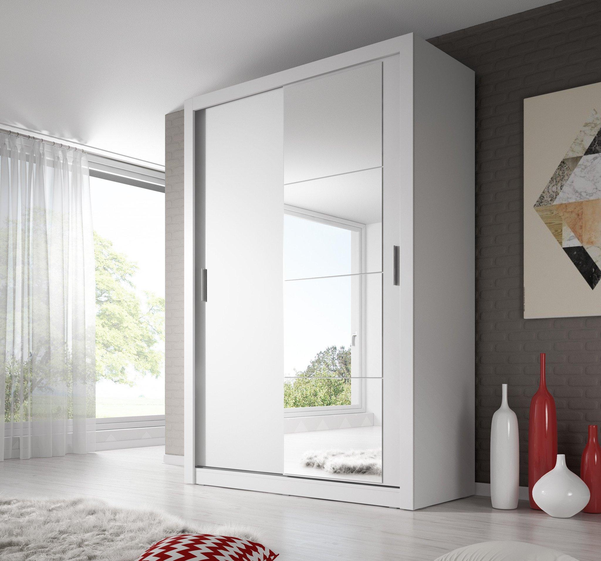 white wardrobe Arti 6 white 2 sliding door wardrobe 120cm AKYNIFS