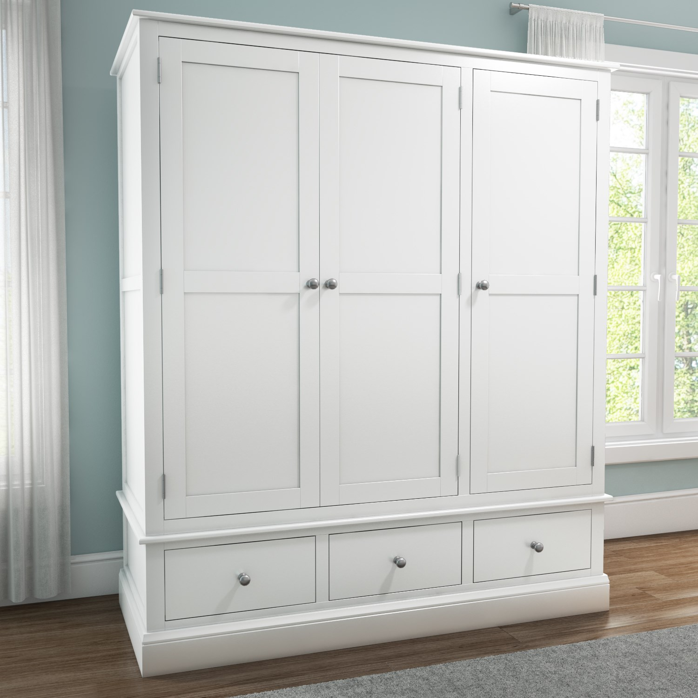 white wardrobe Harper white solid wood 3 doors 3 drawers wardrobe YSDERGS