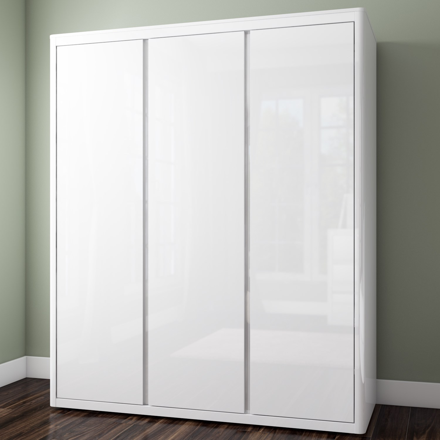 white wardrobe lexi white high gloss triple wardrobe with 3 glossy doors GWNSVDY