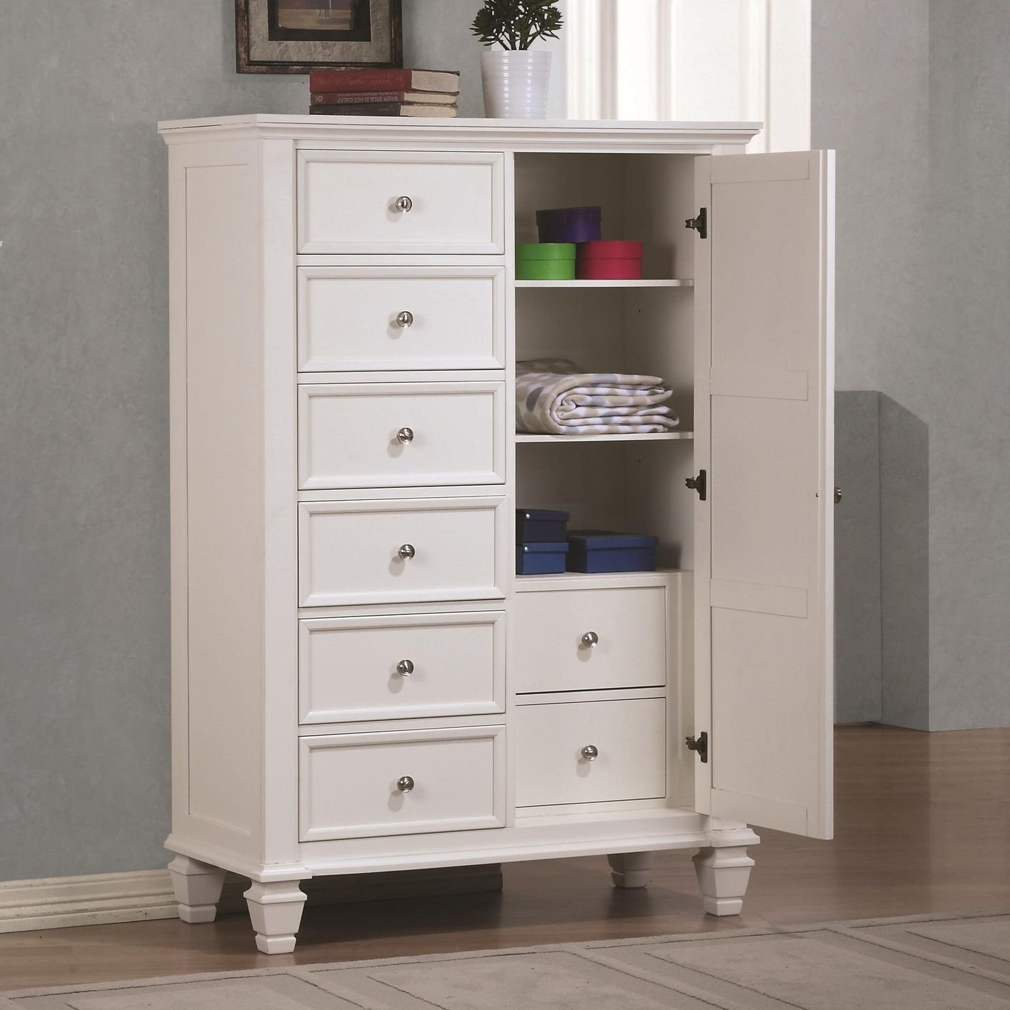 White wood chest of drawers WPZGBNG