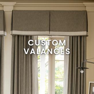Window treatments custom valances at Calico.  pleated flounces.  KSGUIDE