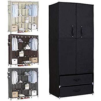 woltu portable wardrobe wardrobe with 2 drawers clothes storage with JYWZTTA