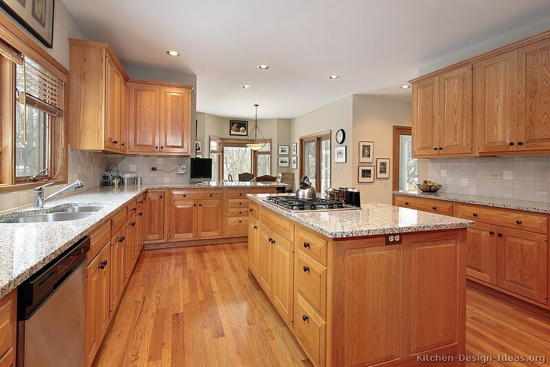 Wooden cabinets traditional light wooden kitchen cabinets # 91 (kitchen-design-ideas.org) raised top, black knobs CBNNDEO