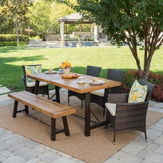 Wooden garden furniture Jennys Outdoor 6-piece rectangular tableware made of wicker with cushions by KQXUOOQ