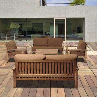 Wooden garden furniture todds 5-part teak terrace seating group with Sunbrella cushions TCWNJOA