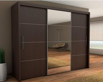 Wood-aluminum wardrobe designs, bedroom wardrobe sliding mirror doors HKAJVRW