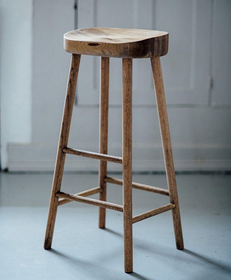 Wooden bar stool simple wooden stool UZNTMXN