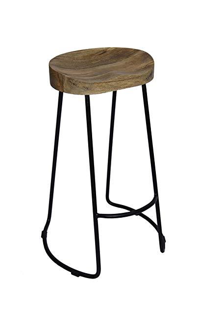 Wooden bar stool the urban port noble wooden bar stool with iron legs (long) FHAFKXE