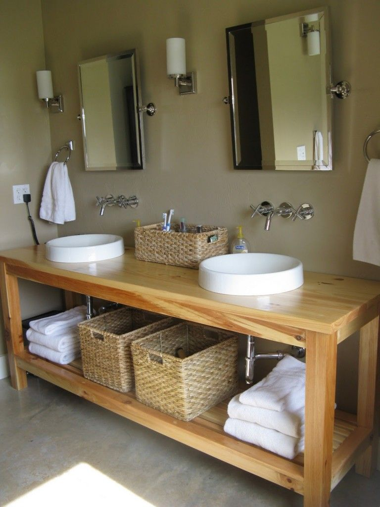 Wooden bathroom furniture ideas simple round sinks and wicker baskets on minimalist wooden bathroom vanity unit BWVBNXZ