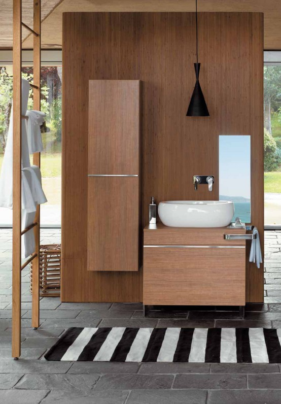 Ideas for bathroom furniture made of wood Bathroom cabinets made of wood and oval sanitary ware - egg by pozzi-ginori TUCPKEJ