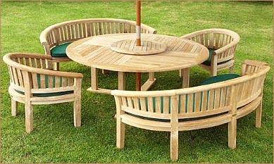 Wooden garden furniture round teak garden furniture ARVVHUG