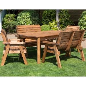 Wooden garden furniture Redlands 6-seater large rectangular bench and chairs Garden dining set IAVQMKA