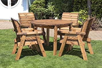 Wooden garden furniture, round wooden garden table and 4 chairs Dining room set - outdoor terrace XPWSSVQ