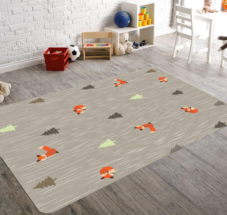 Forest nursery rug, kids rugs, forest nursery decor, fox rug SHKHLWJ