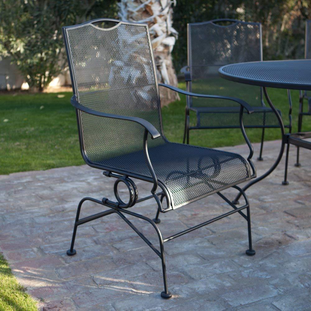 Wrought iron garden furniture amazon.com: Belham Living Stanton wrought iron spiral spring dining chair by SZQLIFU