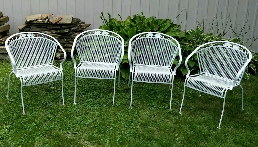 Wrought Iron Patio Furniture Vintage 4 Vintage Meadowcraft Wrought Iron Metal Barrel Back Patio Chairs PJXHZBB