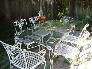 wrought iron patio furniture vintage set 4 vintage 1950u0027s Woodard Acorn wrought iron patio garden dining table LOVLAXI