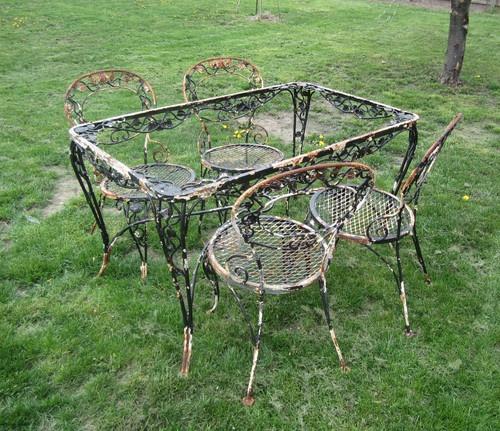 Wrought Iron Garden Furniture Vintage Vintage Woodard Wrought Iron Chantilly Rose Table 4 Chairs Outdoor Patio HDARQBG