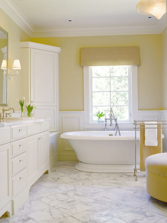Stunning 45 Little Yellow Bathroom Decor Ideas |  Yellow.