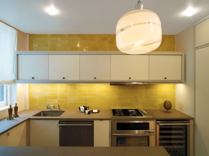 50 kitchen backsplash ideas |  Yellow kitchen tiles, small kitchen.