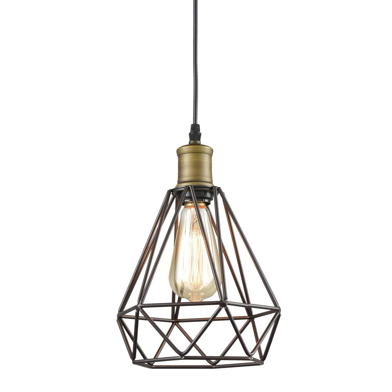 Yobo Lighting Vintage Oil Rubbed Bronze Polygon Wire Pendant Light Art Deco KMQUXJF