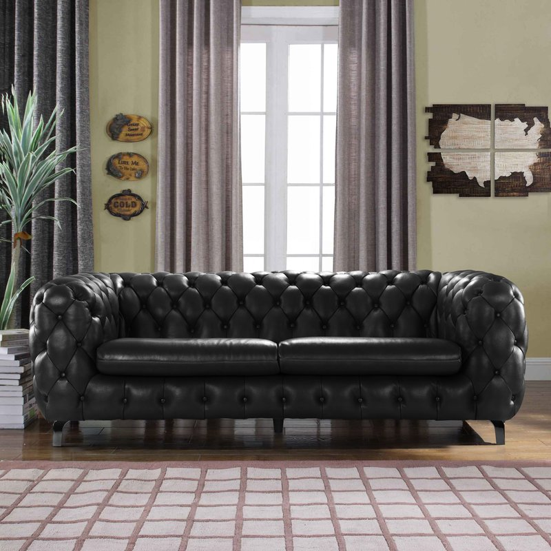 Yuliya leather Chesterfield sofa with built-in shelves YJFXDSW