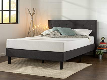 zinus upholstered platform bed with diamond quilting in dark gray, Queen NZMUYQB
